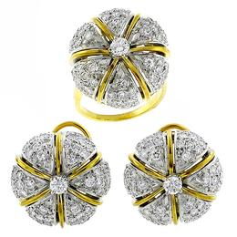 diamond 14k yellow and white gold ring and earrings set 1