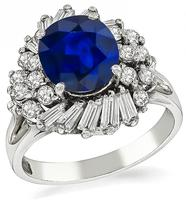 1960s 3.50ct Sapphire 0.70ct Diamond Cocktail Ring