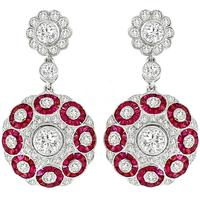 2.55 Diamond 2.30ct Ruby Gold Drop Earrings