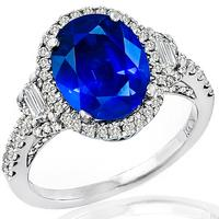 2.61ct Sapphire 0.90ct Diamond Gold Engagement Ring