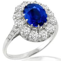 2.98ct Sapphire 1.10ct Diamond Gold Ring