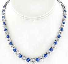 25.00ct Sapphire 22.40ct Diamond Tennis Necklace - price $59,500