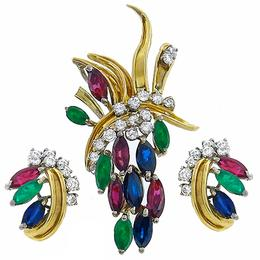 18k yellow gold ruby, sapphire,  emerald and diamond pin/ pendant and earring set 1