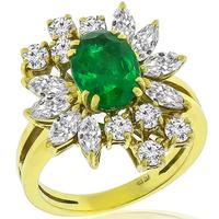 3.00ct Colombian Emerald 1.00ct Diamond Gold Ring
