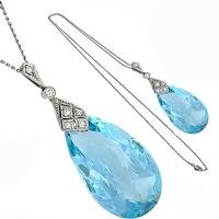 Art Deco Aquamarine Diamond Gold Necklace
