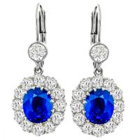 4.04ct Sapphire 2.19ct Diamond Gold Dangling Earrings