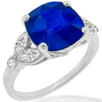 Estate 4.06ct Sapphire 0.45ct Diamond Gold Ring