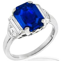 4.27ct Sapphire 0.50ct Diamond Platinum Engagement Ring | Israel Rose