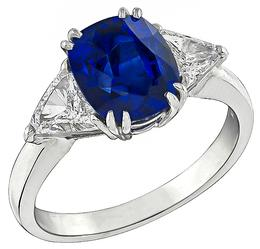 3.74ct Sapphire 1.00ct Diamond Engagement Ring Photo 1
