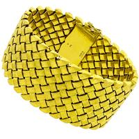 18k Yellow Florentine Finish Gold Weave Pattern Bracelet