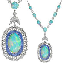 Edwardian Style 34.77ct Cabochon Oval Opal 2.48ct Round Diamond Faceted Sapphire 18k White Gold Necklace