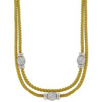 Estate 1980s 6.66ct Round Cut Diamond 18k Yellow And White Gold Mesh Necklace
