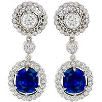 Estate 3.94ct Sapphire 2.26ct Diamond Gold Earrings  | Israel Rose