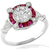 GIA 1.06ct Diamond Ruby Gold Engagement Ring