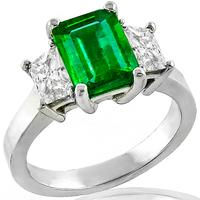 1.57ct Colombian Emerald 0.78ct Diamond Gold Ring