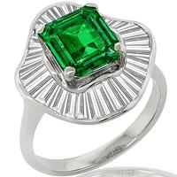 2.23ct Col Emerald 1.85ct Diamond Ballerina Ring