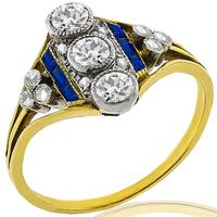 Victorian 0.70ct Diamond Sapphire Gold Platinum Ring