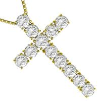 3.25ct Diamond Gold Cross Necklace