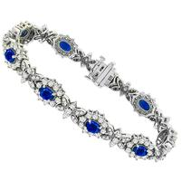 Estate 4.50ct Oval Cut Sapphire 4.00ct Round Cut Diamond 14k White Gold Bracelet