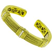Judith Ripka 0.60ct Diamond Gold Bangle