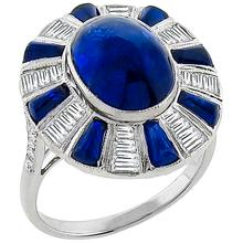 Estate 5.13ct Cabochon Center & 1.60ct Cabochon Tapered Sapphire 0.67ct Baguette Diamond 18k White Gold Ring
