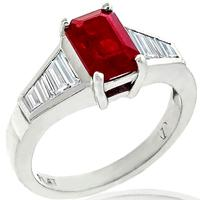 2.15ct Burmese Ruby 0.83ct Diamond Platinum Ring