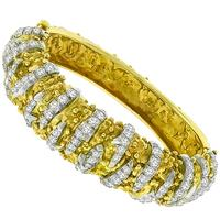 4.00ct Diamond 2 Tone Gold Bangle