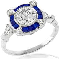Art Deco Style GIA Certified 1.03ct Round Brilliant Diamond Faceted Cut Sapphire 18k White Gold Engagement Ring