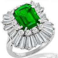2.41ct Emerald 2.15ct Diamond Ballerina Ring