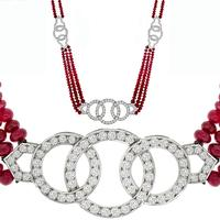 15.00ct Ruby 3.00ct Diamond Gold Necklace