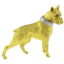 Ruby Gold Boxer Dog Pin