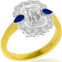 GIA 1.19ct Diamond Sapphire 2 Tone Gold Engagement Ring