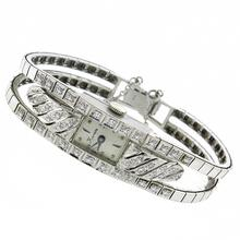 art deco 14k white gold diamond watch 1