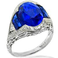 Antique GIA Natural 8.00ct Sapphire Diamond Platinum Ring| Israel Rose