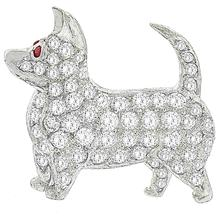 Diamond Ruby Platinum Dog Pin