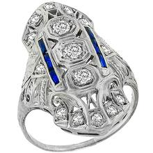 Antique Diamond  Sapphire Platinum  Ring