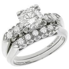diamond platinum engagement ring wedding band set 1