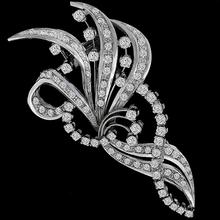 Diamond Platinum Floral Pin