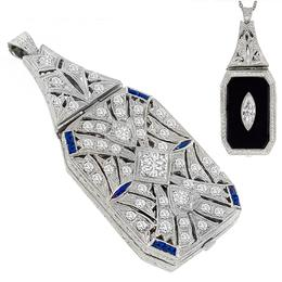 Art Deco Diamond Onyx Sapphire Back to Back Pendant