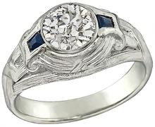 Art Deco 1.39ct Diamond Sapphire Men's Ring