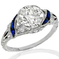 Estate 2.08ct Diamond Sapphire Engagement Ring