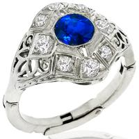 Antique Art Deco 0.80ct  Round Cut Sapphire Old Mine  Diamond 14k White Gold Ring