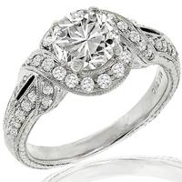 Art Deco Inspired 1.40ct Diamond Gold Engagement Ring