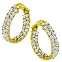 Estate 11.75ct Round Brilliant  Inside Out Diamond 18k Yellow Gold Hoops Earrings