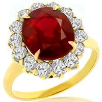 Victorian 3.16ct Burmese Ruby 1.00ct Diamond Gold Ring