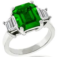 3.05ct Colombian Emerald 1.01ct Diamond Gold Ring