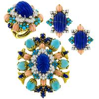 3.40ct Diamond Lapis Coral Turquoise Gold Jewelry Set