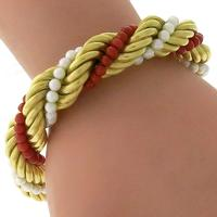 Pearl And Coral Bead Gold Bracelet