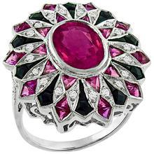 Pink Sapphire Diamond Onyx Gold Ring