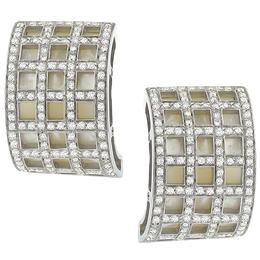 diamond mother of pearl 18k white gold  earrings 1